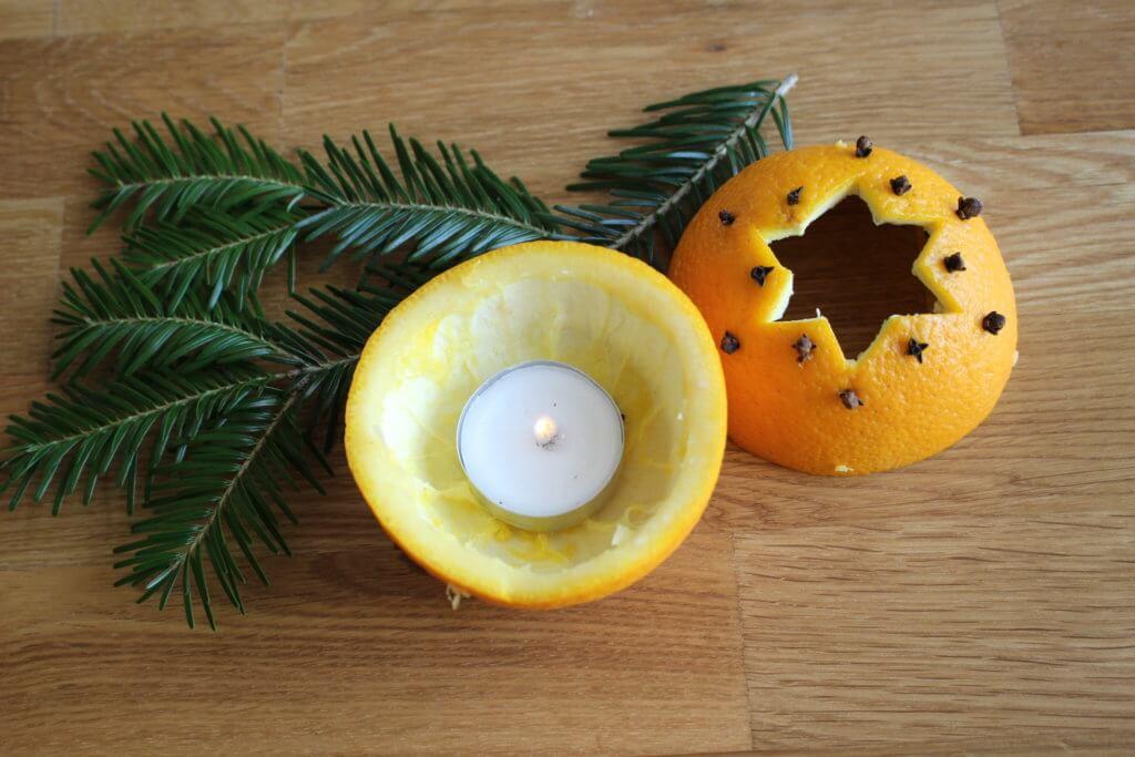 Orangen-Windlicht basteln